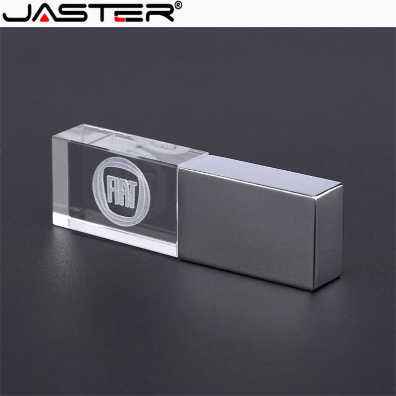 JASTER Fiat Kristal + Metalen USB Flash Drive Pendrive 4GB 8GB 16GB 32GB 64GB Externe Opslag Geheugenkaart U Schijf USB 2.0