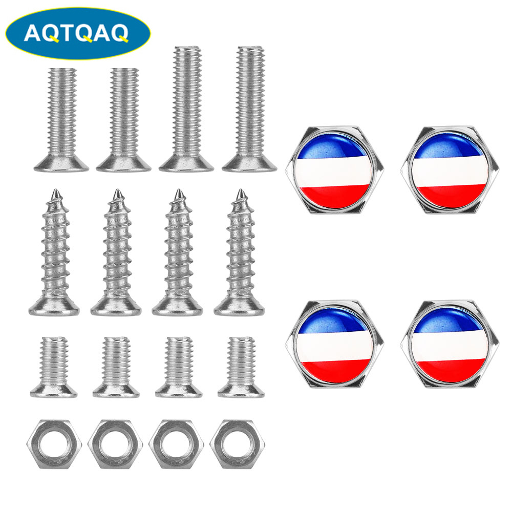 UK British Flag Metal Car Truck Rear License Plate Frame Bolt Screw Nuts Caps