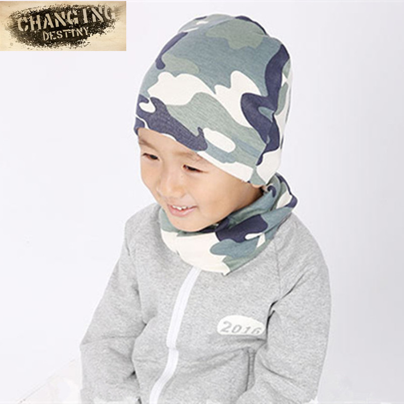 0-8 Years Old Print Cotton Boys Girls Baby Kids Hats+scarf Two Piece Sets Winter Autumn Warm Wear Collars &beanies Cute Cap