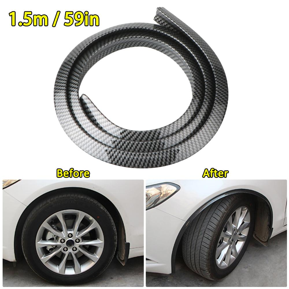 Durable 1.5M Universal Car SUV Wheel Rubber Eyebrow Protector Lip Arch Trim Fender Protector Strip Carbon Fiber Decorative Strip