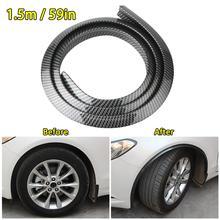 Durable 1.5M Universal Car SUV Wheel Rubber Eyebrow Protector Lip Arch Trim Fender Protector Strip Carbon Fiber Decorative Strip стоимость