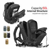 50L Large Capacity Man Army Tactical Backpacks Outdoor Waterproof Military Assault Bags 3P  Pack For Sport Trekking Camping Hunt