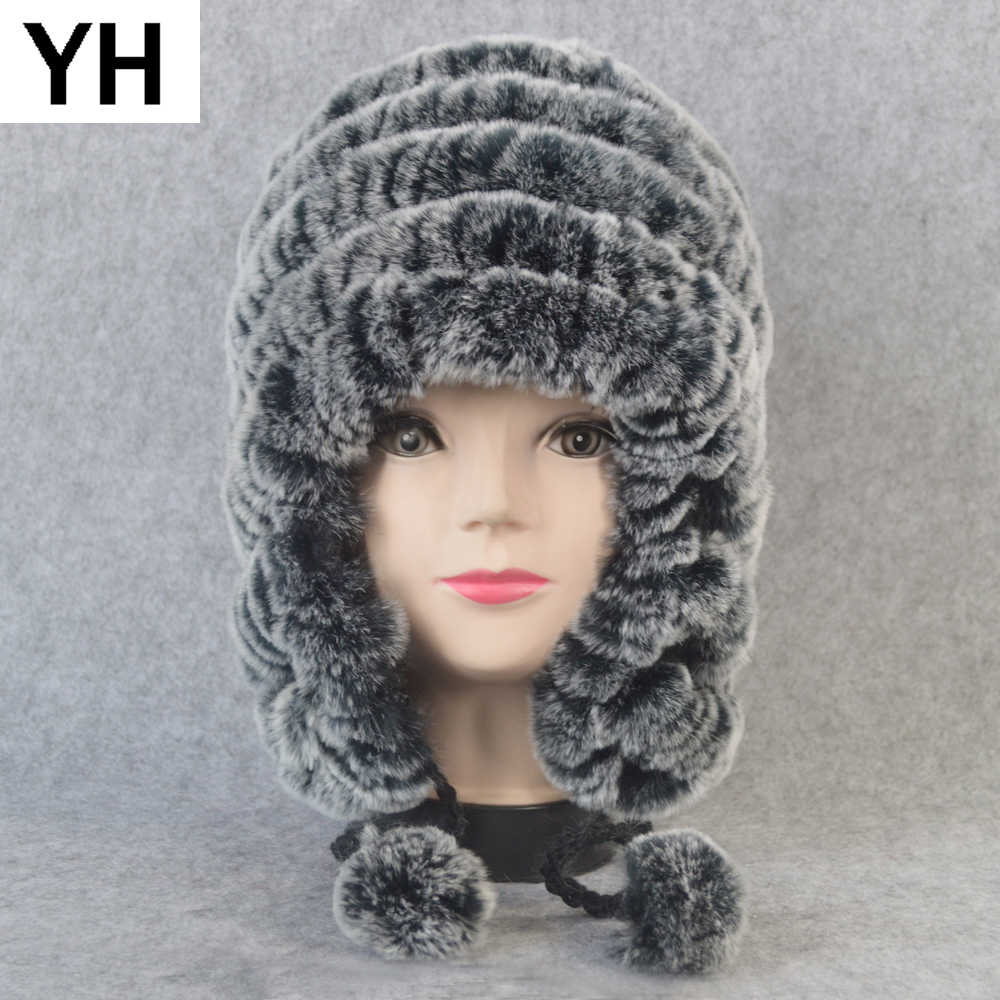 ロシアの冬リアルファー耳介帽子女性ニット本物のレックスウサギの毛皮 Skullies キャップ Diy ウォームソフトレックスウサギの毛皮ビーニーキャップ