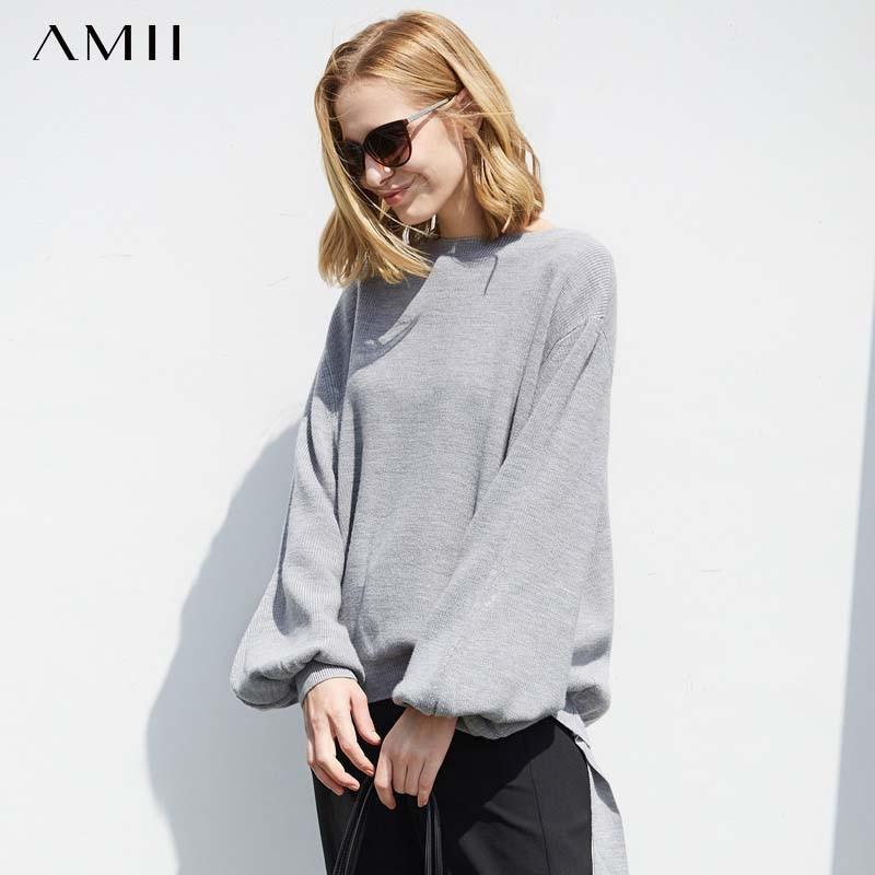 Amii осенний женский теплый свитер с высоким воротом, Женский однотонный Свободный пуловер с рукавами-фонариками, вязаный свитер 11727236