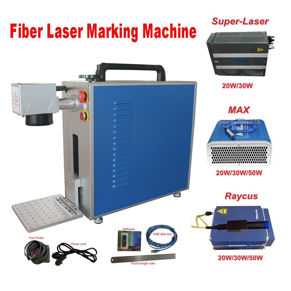 fiber laser metal marking machine with rotary option 50W 30W 20W Raycus Max Super-Laser metal engraving machine genuine software