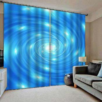 blue curtains Luxury Blackout 3D Window Curtains For Living Room Bedroom Customized size Blackout curtain