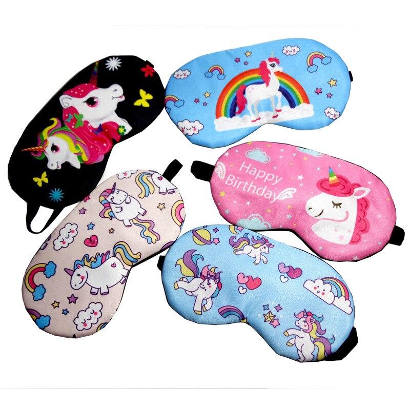 Cute Unicorn Cartoon Eye Cover Sleeping Mask Girl Kids Silk Cotton Eye Patch Sleep Mask Travel Rest Eye Band Blindfold Sleep Aid