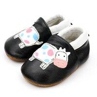 Детская обувь из натуральной кожи; обувь для новорожденных мальчиков и девочек; черная обувь для малышей; Повседневная нескользящая обувь д...
