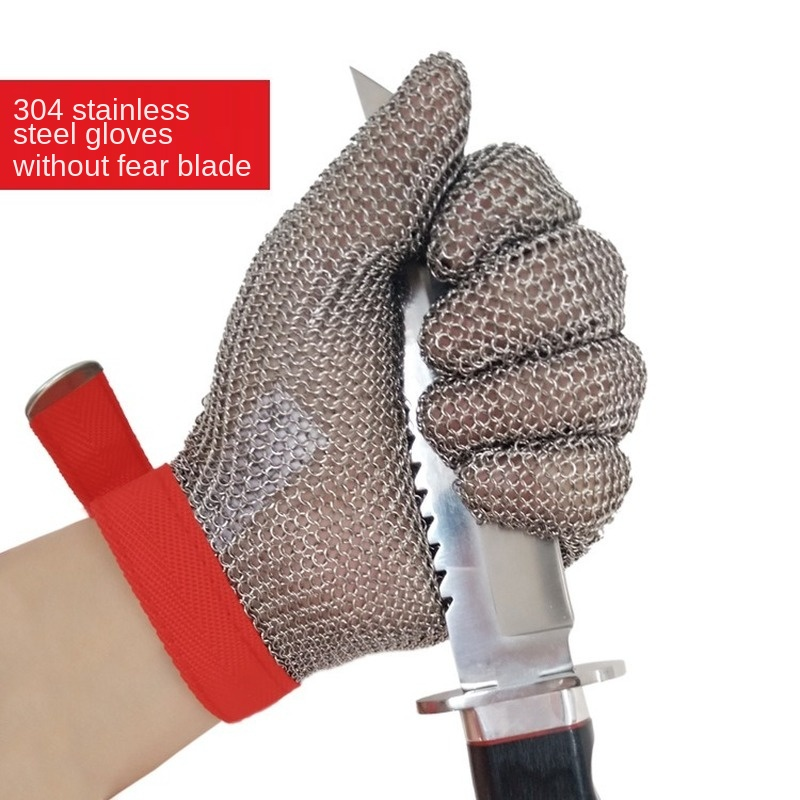 1 Pair Anti-cutting Steel Wire Protective Gloves, Anti-electric Shears Slaughter Machinery Grade 5 Stainless Steel Ring Gloves