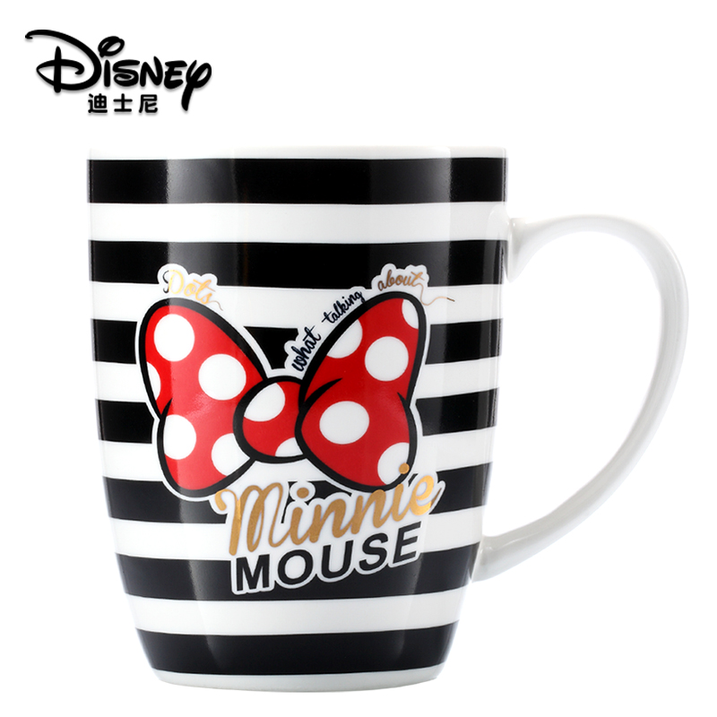 400ML Disney Cartoon Minnie Ceramic Cup With Cover And Spoon Cute Milk Coffee Cup Children's Cup With Box Christmas Gift