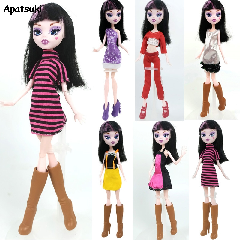 Fashion Evening Party Gown Dress One-Piece Outfits Doll Clothes For Monster High Doll Casual Daily Wear Doll Accessories Kid Toy