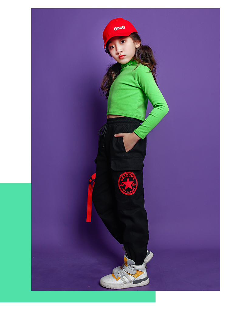 Fashion Children Jazz Dance Costume For Girls Hip Hop Street Dancing Costumes Crop Top Pants Kids Performance Dance Clothes (8)