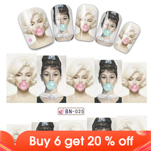 1Sheet Hot Sale Beauty Woman Marilyn Monroe & Audrey Hepburn DIY Water Decal Transfer Slider Nail Art Sticker Decoration JIBN025