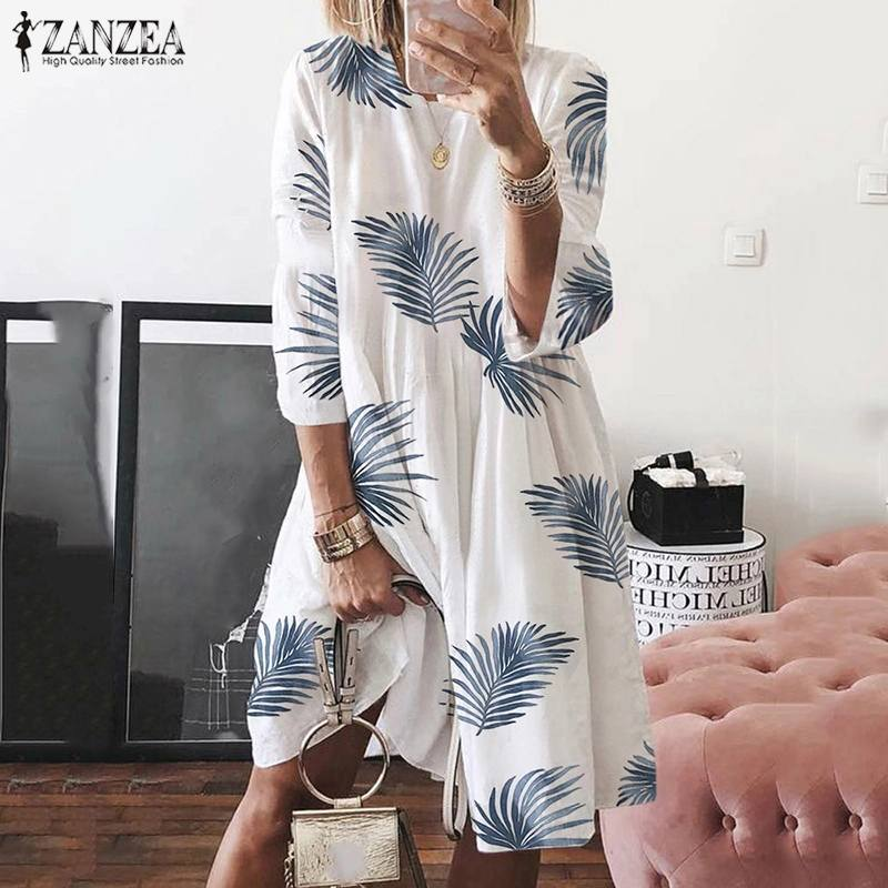 Bohemian Printed Dress Women's Summer Sundress ZANZEA 2020 Casaul 3/4 Sleeve Beach Knee Length Vestidos Female Floral Robe 5XL