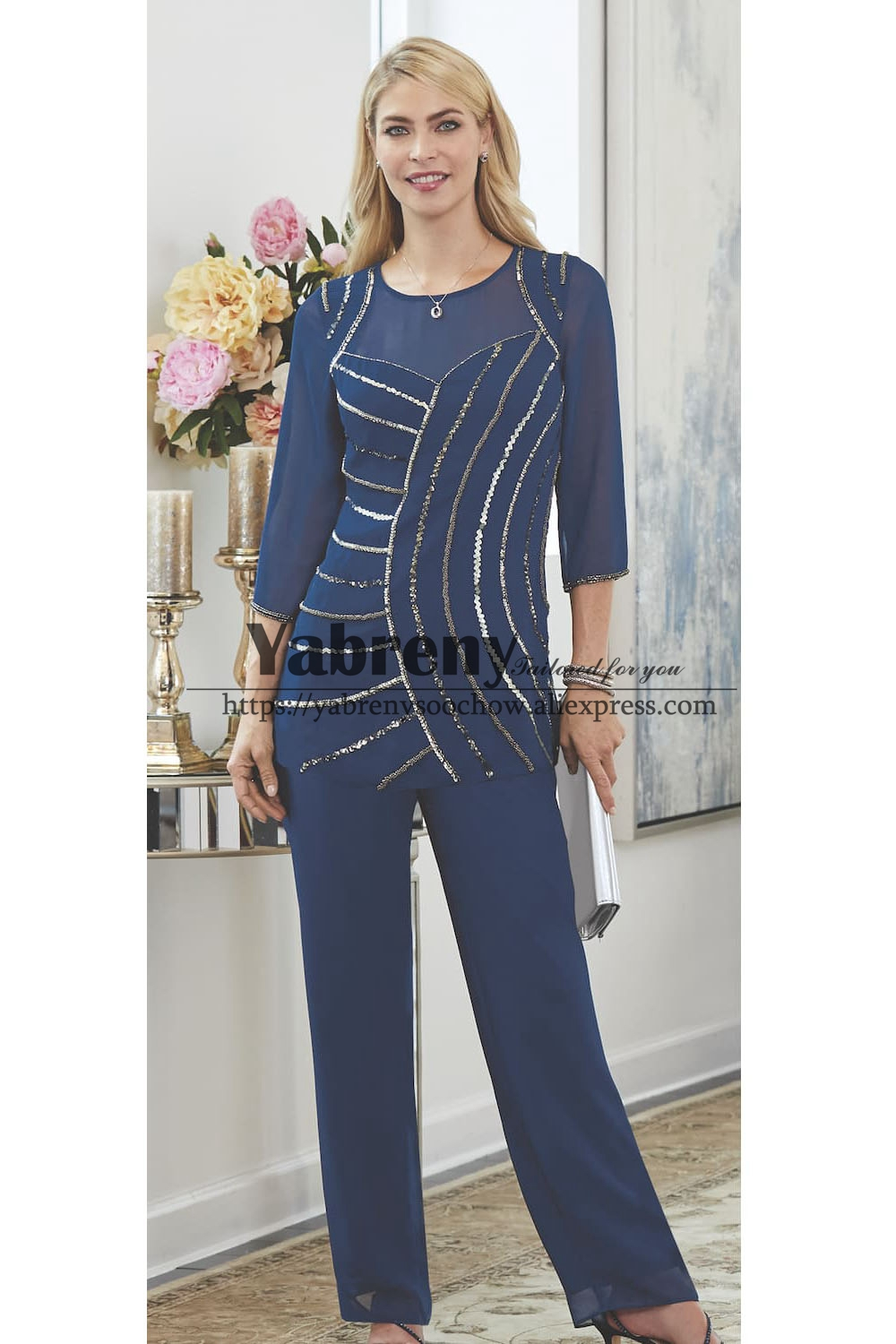High-end Navy Beaded Trouser Outfit Elegant Mother Of The Bride Pant Suit Chiffon Dress Elastic Waist Custom-made Plus Size