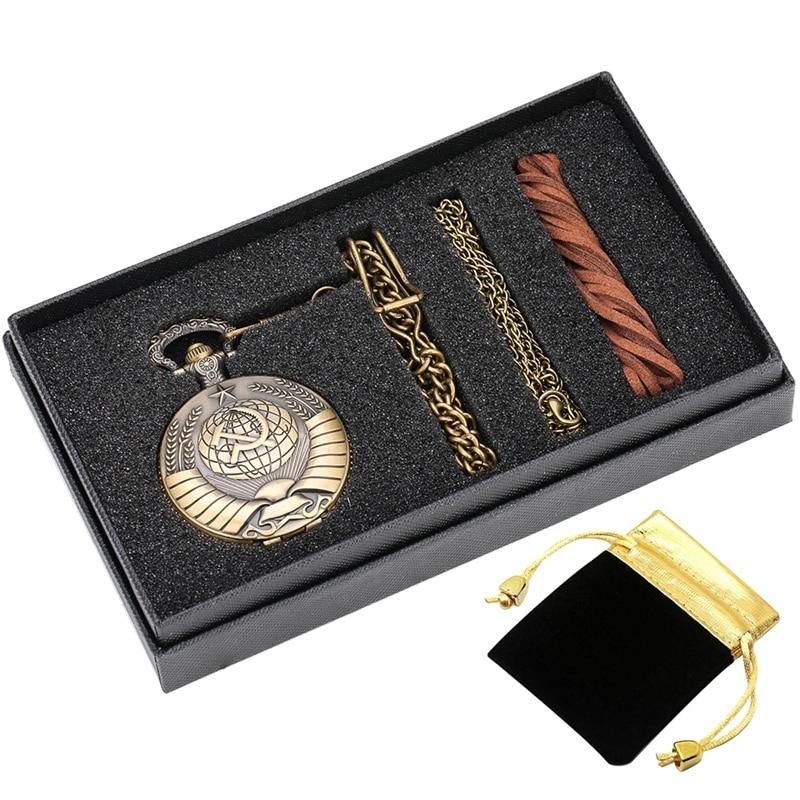 5pcs/set Retro USSR Soviet Badges Sickle Hammer Style Quartz Pocket Watch CCCP Russia Emblem Communism Necklace Chain Gifts Sets
