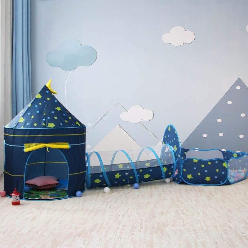 3 в 1 детская палатка домик игрушка мяч бассейн портативный детский палатки-Типи ползающий туннель бассейн мяч яма дом Дети Съемный Тент