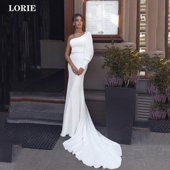 Lorie Satin Mermaid Wedding Dress Long Sleeve Vestido de novia  One Shoulder Backless Boho Bridal Gown