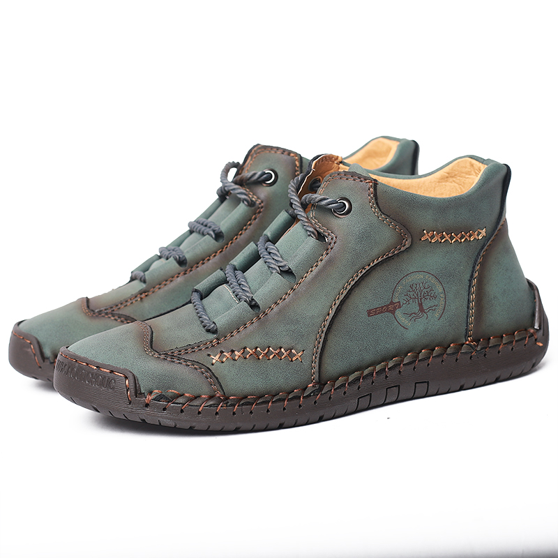 leather ankle boots aqua blue