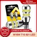 2x W16W светодиодный Canbus без ошибки OBC лампы 921 912 T15 светодиодный запасной светильник заднего хода, сигнализирующий фонарь Error free ксеноновый бел...