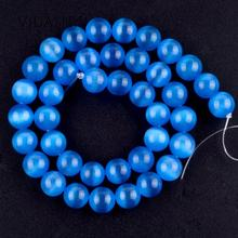 цены Natural Mineral Gem Lake Blue Cat Eye Round Loose Beads For Jewelry Making 6mm-12mm Spacer Beads Diy Bracelet Necklace 15''