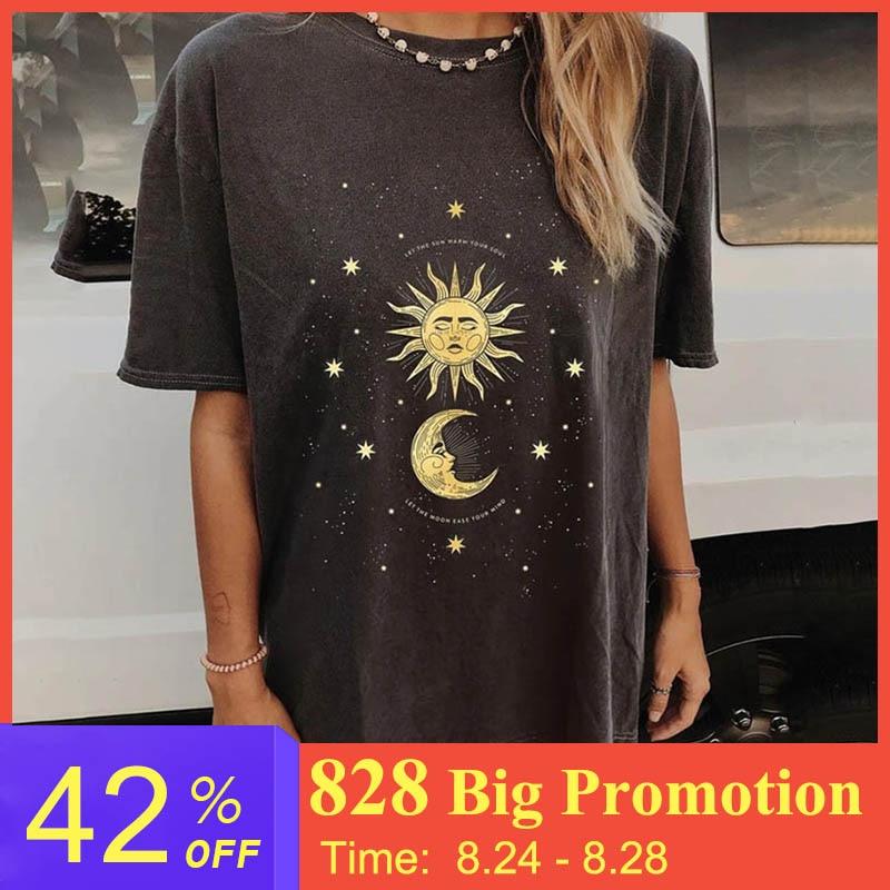 Harajuku Summer Sun Printed T Shirt for Women Short Sleeve Casual Tops Female lady Clothing Loose Mid-long Streetwear T-shirts