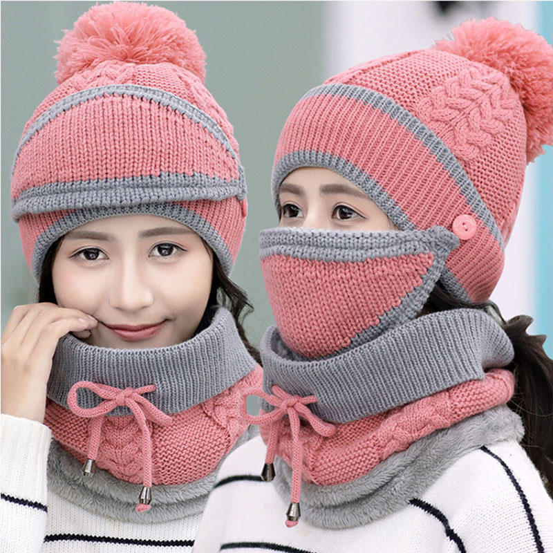 Women Knitted Beanie Scarf Hat Face Mask Set Snood Neck Winter Pompom Cap Thicken D88