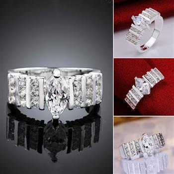 Newest Fresh Cross-three Rows of Sandwich Stone Round Zircon Ring Bands Wedding Rings Toe Rings for Women 2021R582-8 image