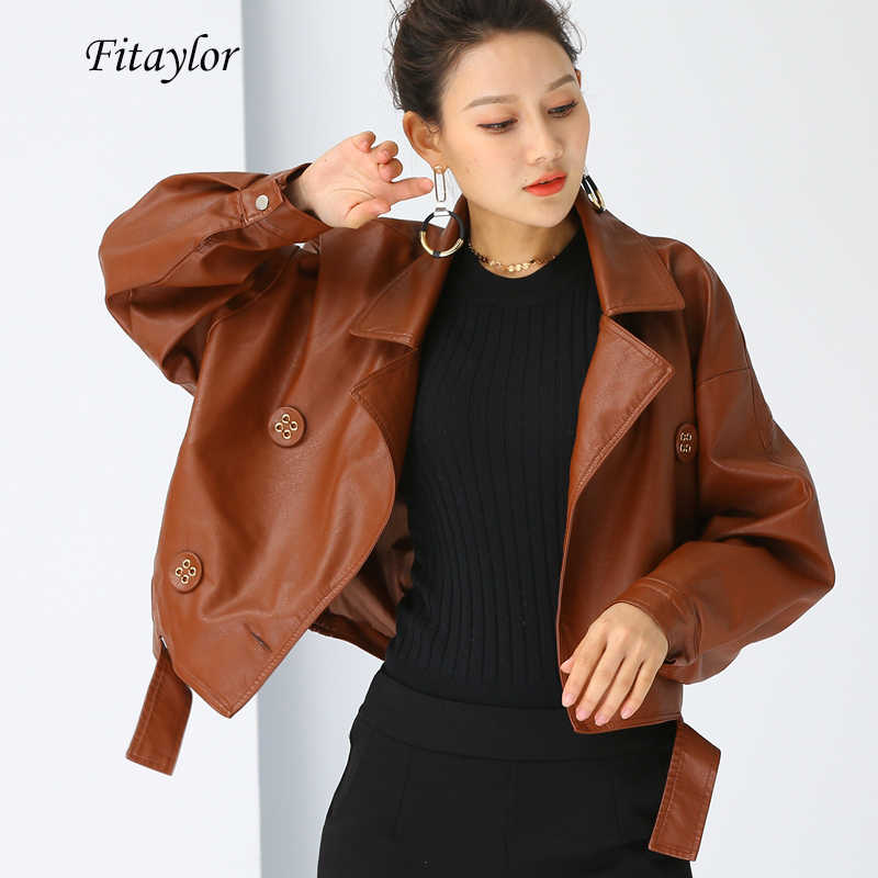 Fitaylor Faux Leather Jacket Women Brown Black Elegant Biker Coat Ladies Basic Jackets Turn Over Collar Bomber Outwear