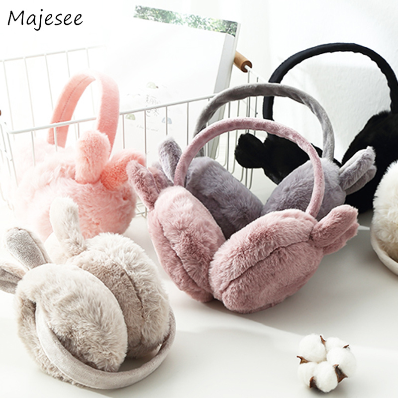Earmuffs Women Rabbits Ears Cute Solid Winter Thick Girls Simple All-match Womens Ear Warmer Casual High Quality Fashion Females