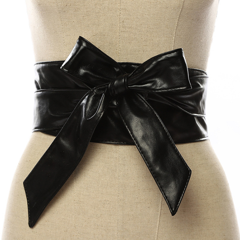 2020 New Design Belts For Women Solid Trendy Wide Belt Bow Fashion Corset Belt Leather Black Waistband Female Stylish Tide ZK766