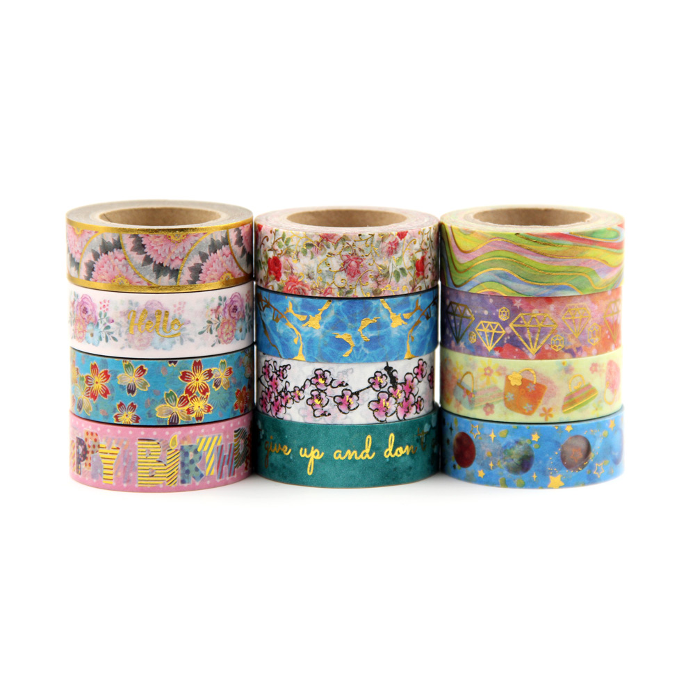 Top 26 Designs Foil Washi Tape Hand Tear Decorative DIY Paper Tape Single Sided Adheisve Craft Washi Tape 1pcs