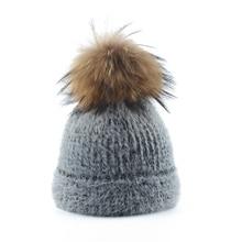 Winter Hats For Women Mink Fur Hat Skullies Beanies Ladies Real Raccoon Fur Pompom Hat Warm Knitted Wool Beanie Cap недорго, оригинальная цена