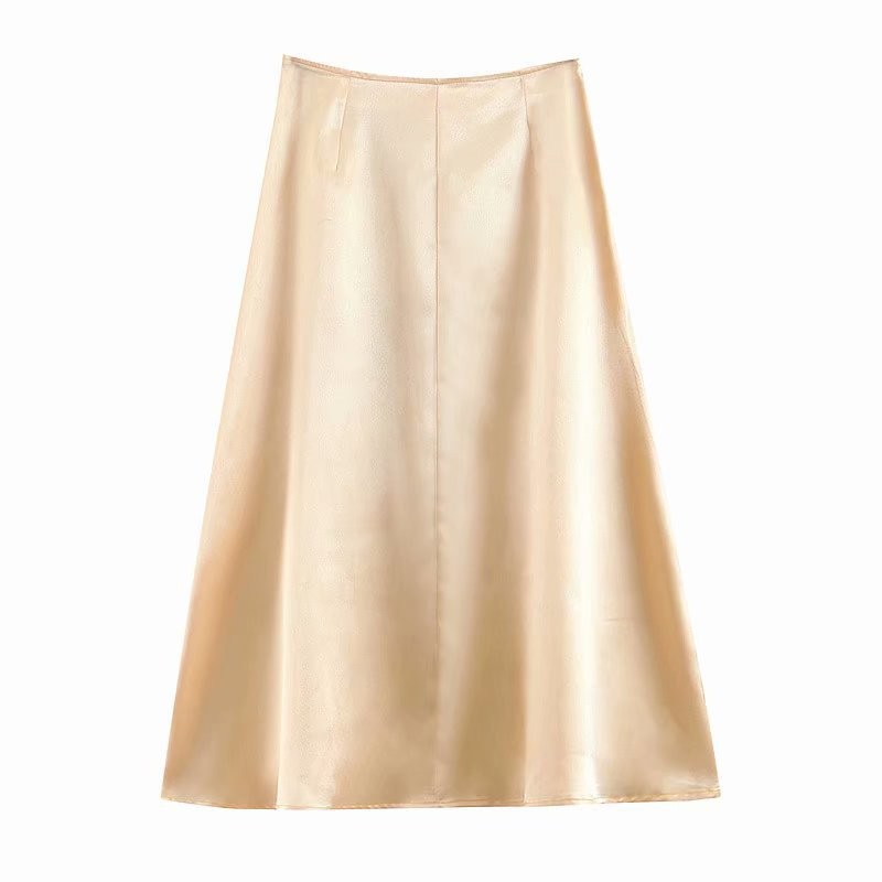 Cross Border Western Style 2019 Champagne Color Mulberry Silk Skirt High-waisted Mid-length A- Line Full Skirt