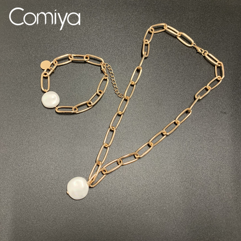 Comiya Necklace Collare Gold Color Zinc Alloy Links Chain AcrylicRound Pendant Collare Maxi Necklaces