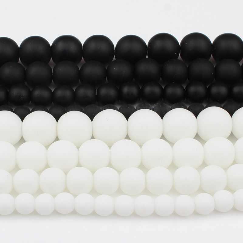 """Pietra naturale Bianco Nero Dull Polacco Matte Onice Agate Liscio Branelli Rotondi per Monili Che Fanno FAI DA TE Braccialetto 15 """"Strand 4-12mm"""