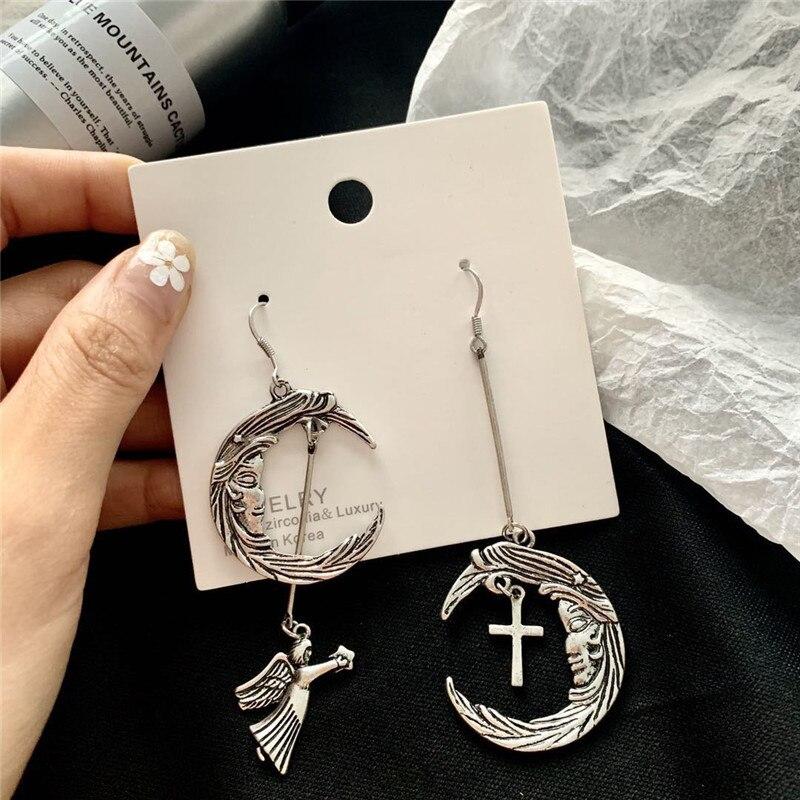 Asymmetry Bohemia Vintage Jewelry Wings Earrings Handmade Coin Moon angel star Cross angel Pendants DIY Earrings For Women Party