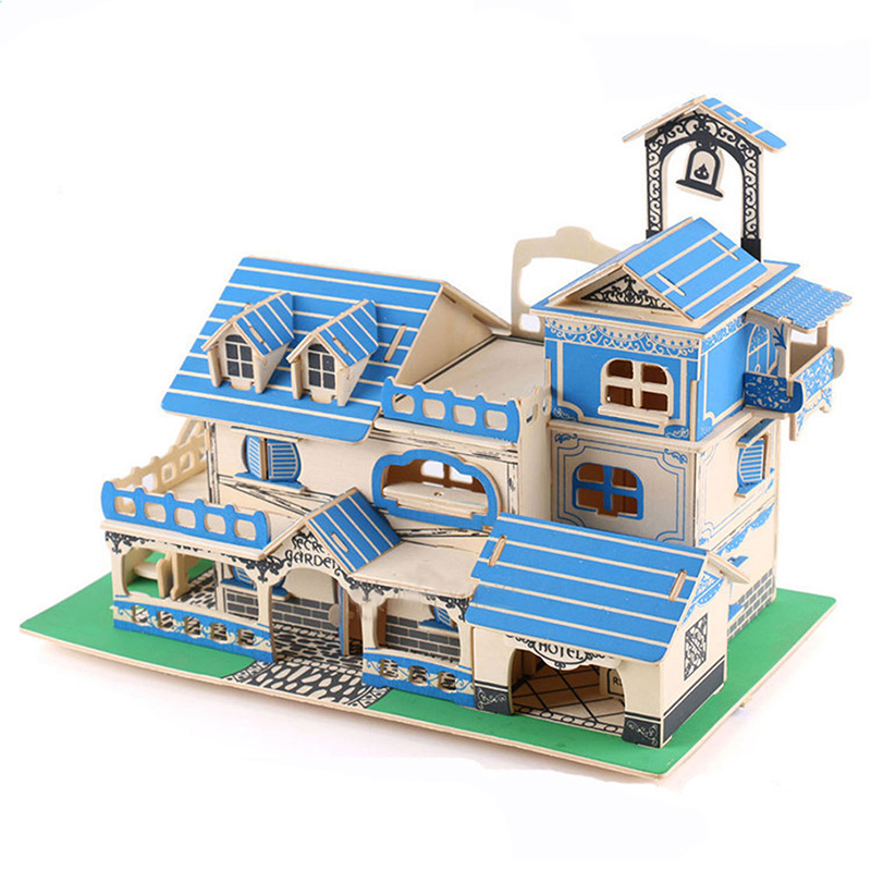 House Puzzle Toys For Children 3D Puzzle Games Learning Educational Toy Creative Wooden Jigsaw Puzzle Popular Toys For Baby Kids