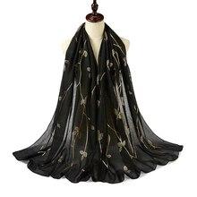 Hot Stamping Gold Print Leaf Glitter Hijab Scarf Shimmer Cotton Shawls Muslim Shawls Wraps Fashion Plain Headband Scarves