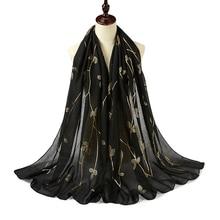 Hot Stamping Gold Print Leaf Glitter Hijab Sjaal Shimmer Katoen Sjaals Moslim Sjaals Wraps Mode Vlakte Hoofdband Sjaals