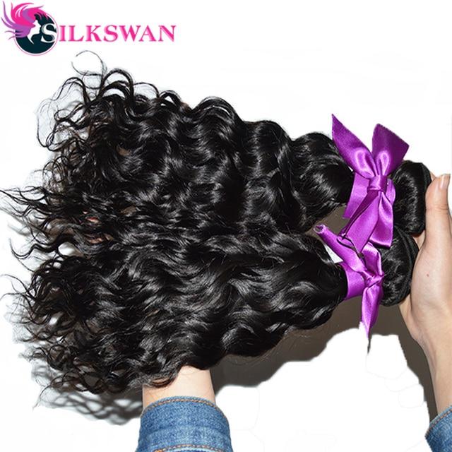 Silkswan 26 28 30 32 34 pulgadas mechones de cabello ondulado de agua cabello humano remy tejidos mechones de 30 pulgadas trama de cabello brasileño 1/3/4 Uds mechones