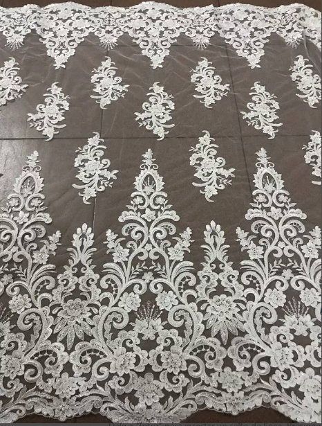 Embroidery Beaed  Lace  Wedding Dress Fabric  Nigerian Textile African Trimming Lace 5Yards/ Lot