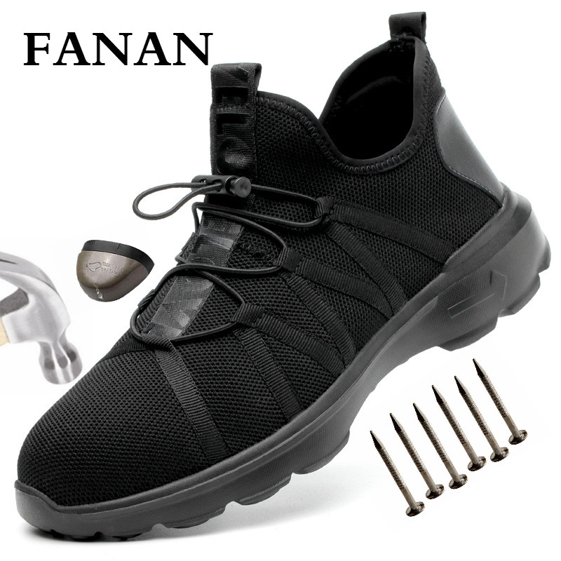 FANAN Breathable Safety Shoes Men's Work Boots Steel Toe Anti-smashing New Design Construction Shoes Big Size Free shipping