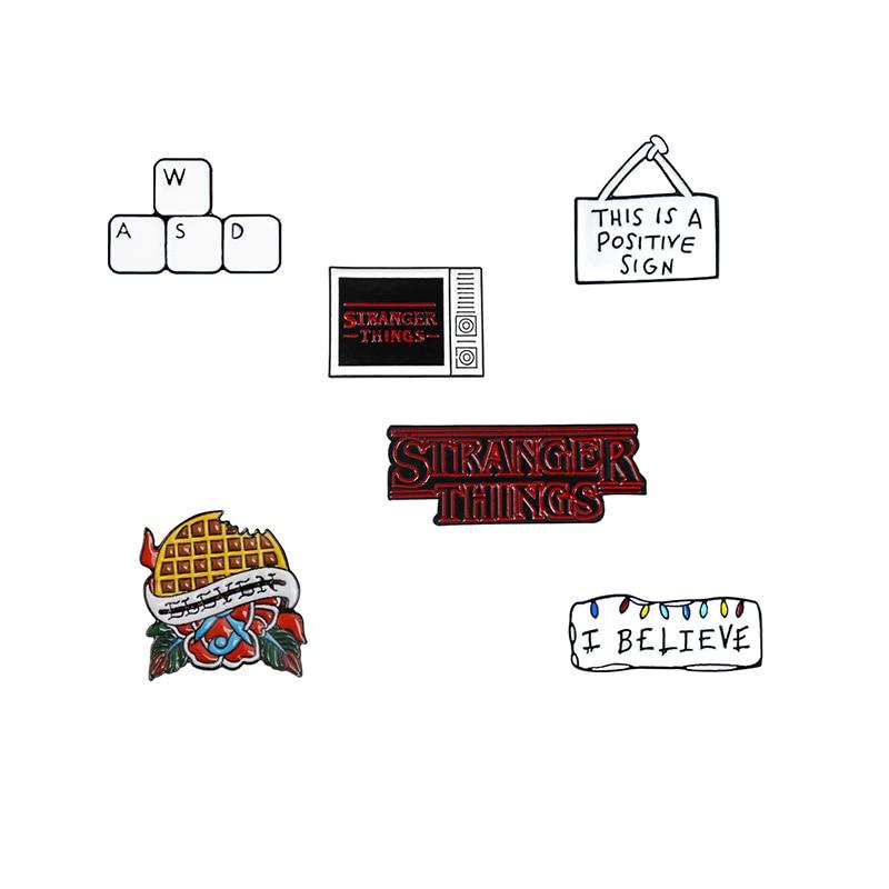 I Believe Color Light Box Metal Enamel Brooch WSD Keyboard Black stranger things Pie Badge Pin Fun Trendy Costume Jewelry Gift(China)