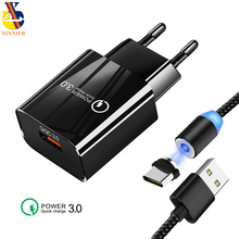 Charger fast 3.0 QC 18W USB QC3.0 Fast Wall with Magnetic Cable  for Samsung s10 Xiaomi iPhone 11 XS Huawei p30