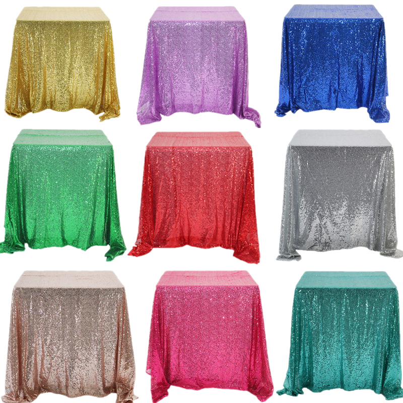 Glitter Sequin Table Cloth Rectangular Table Cover Rose Gold/Silver Tablecloth For Wedding Party Home Decor Multi-Color/Sizes title=