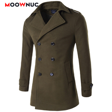 Male Woollen Overcoat Thick Smart Casual American style Long Thermal MOOWNUC Solid Mens Coats Winter Autumn Fashion Business