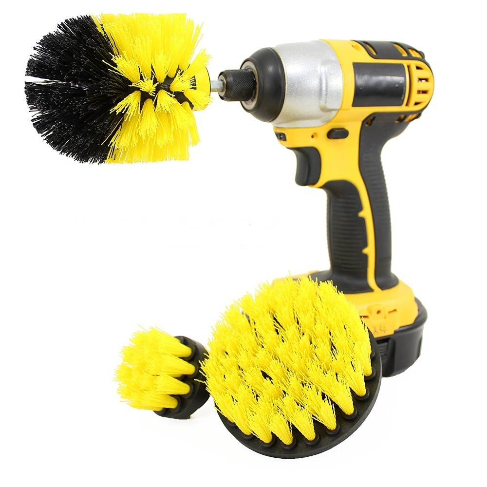 3pcs/set Power Scrubber Brush Drill Brush Clean for Bathroom Surfaces Tub Shower Tile Grout Cordless Power Scrub Cleaning Kit