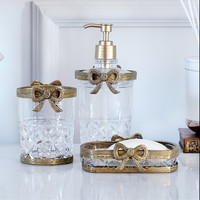 WSHYUFEI European style Glass butterfly shape bathroom kit three piece wedding Bathroom Products Soap Dispenser Mouthwash Cup