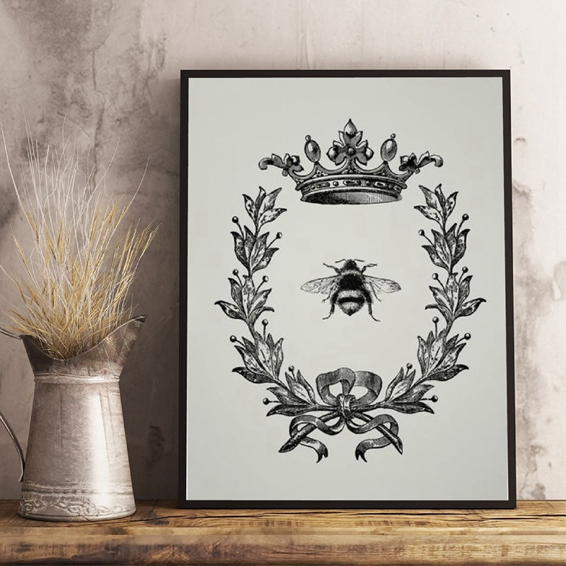 Bee Queen Prints Rustic Wall Art Picture Farmhouse Decor , Bee and Wreath Vintage Poster French Country Home Art Canvas Painting image
